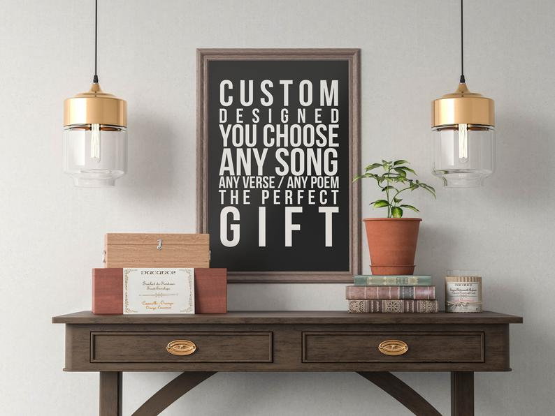 Custom Song Lyrics Quote Printed Perfect Gift Music Art Bedroom Office Old Style Lounge Kitchen Home Decor Shaman Alternative